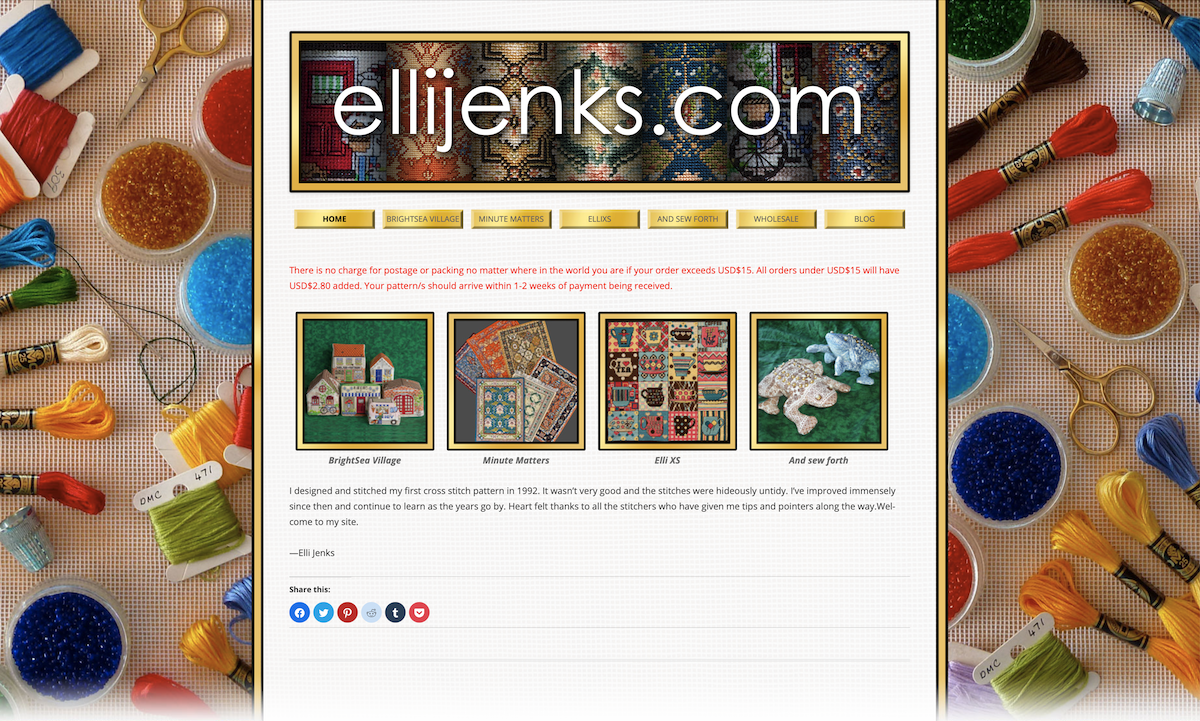 ElliJenks.com web site front page