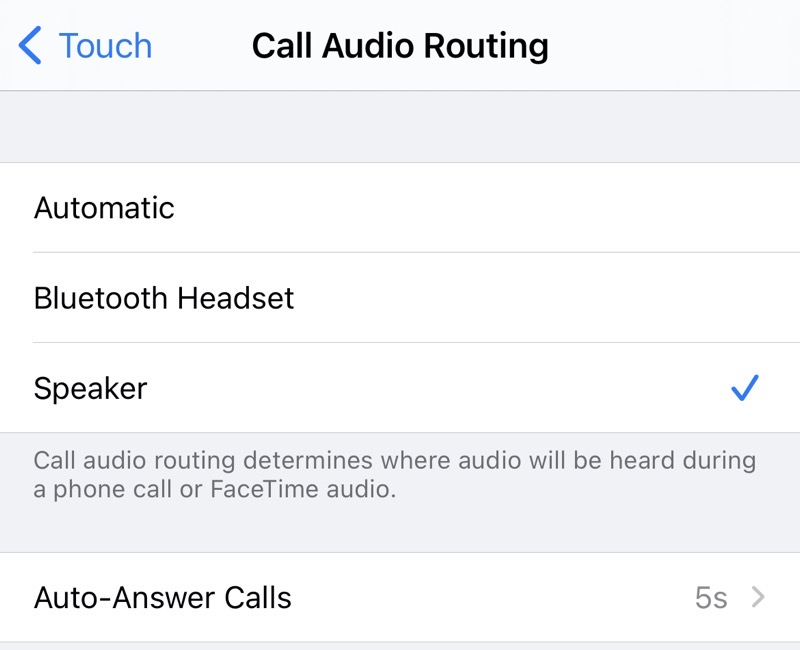 Audio Call Routing set to Speaker and auto-answer calls to 5s