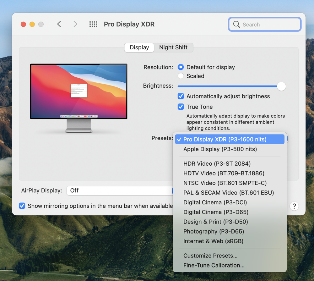Display Presets with XDR Display Pro