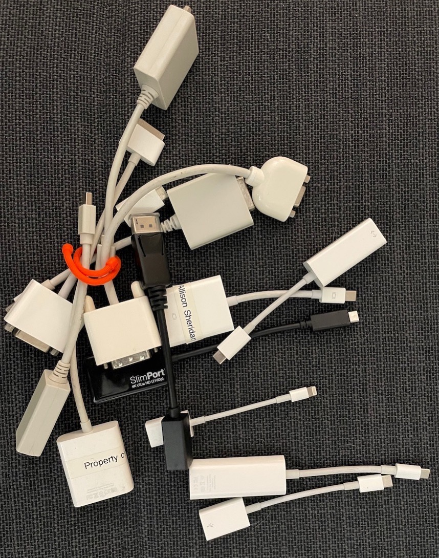 13 dongles of varying types