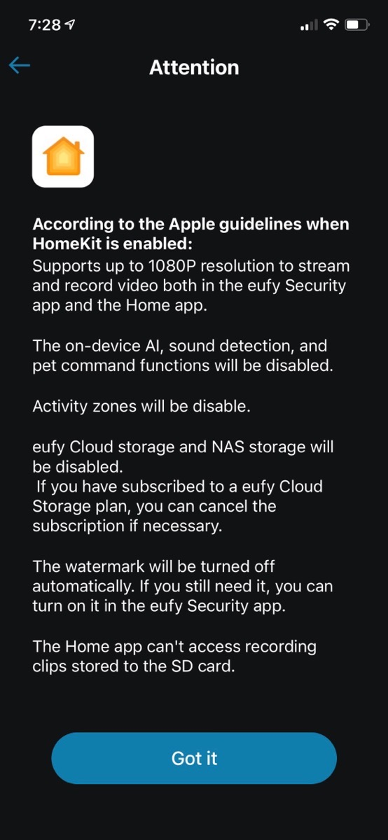 Warning from eufy about what won't work with HomeKit