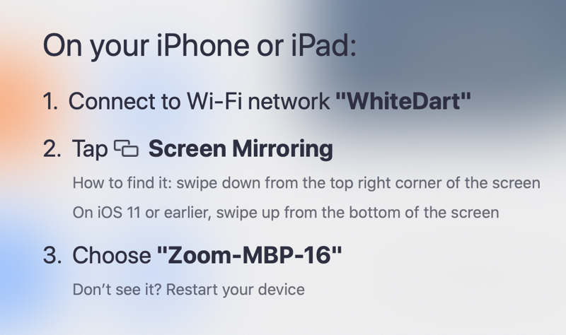 Zoom instructions to turn on screen mirroring