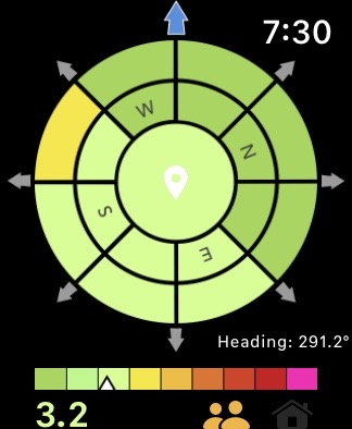 Crime & Place App showing green and yellow on a compass