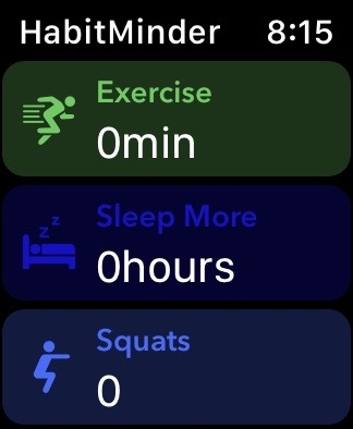 Habit Minder with exercise, sleep and squats listed