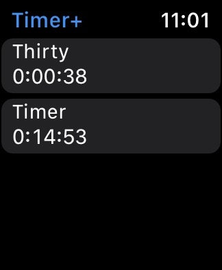 Timer+ app showing two timers by name