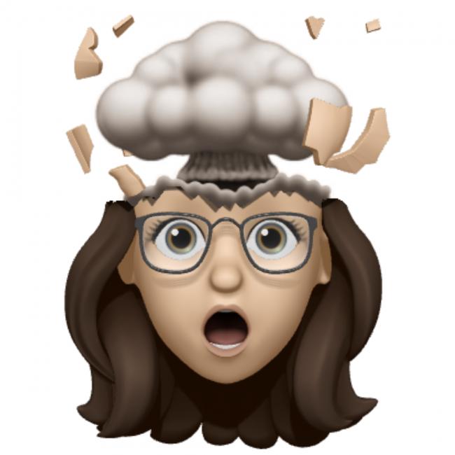 Everything is Fiddly Allison Memoji Top of Head Blown Off