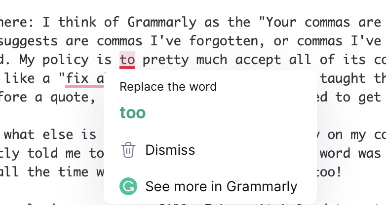 Grammarly suggesting too instead of to