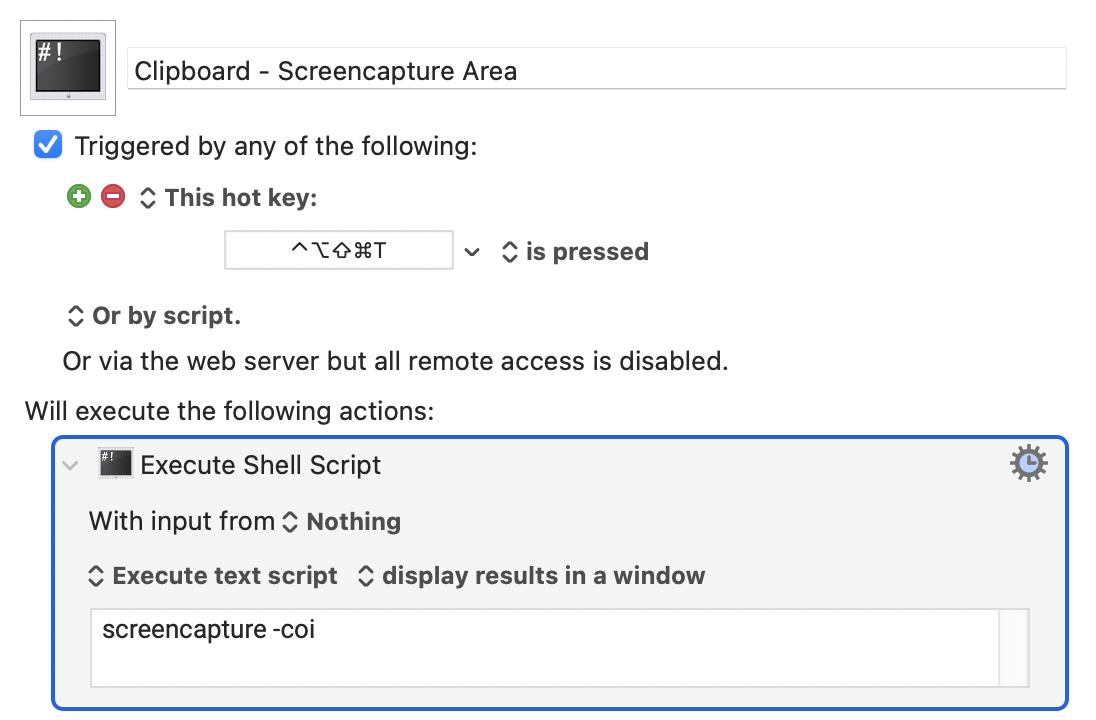 Clipboard Macro `screencapture` in Keyboard Maestro