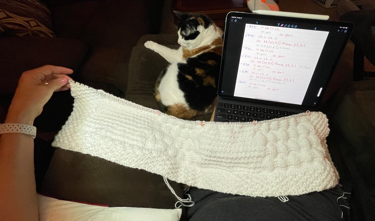 Knitting with iPad Pro, Notability, and a Cat