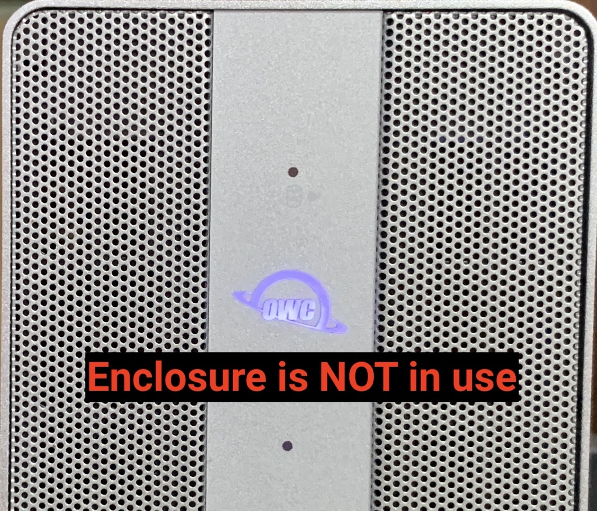 OWC logo in purple Indicating enclosure is NOT in use
