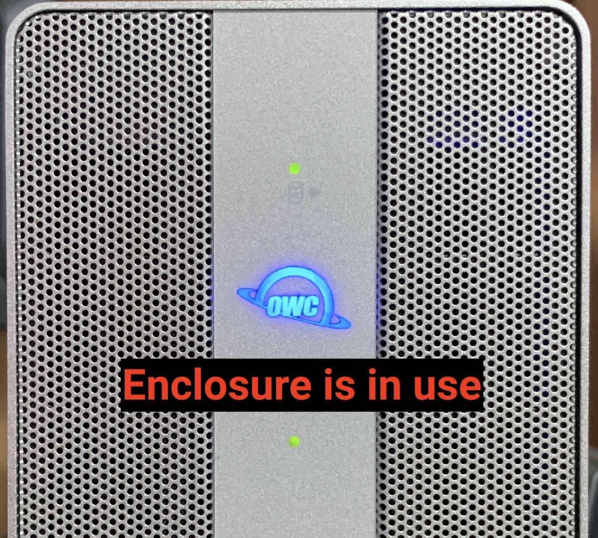 OWC logo in blue Indicating enclosure is in use