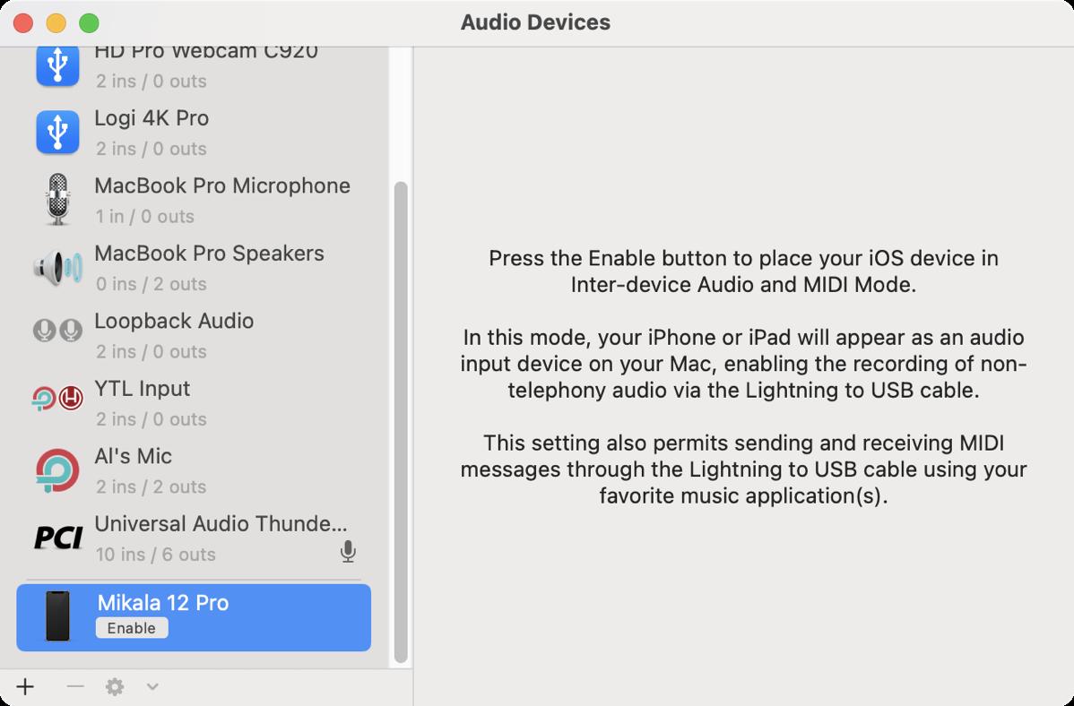 Audio MIDI Setup Showing My Phone with Enable
