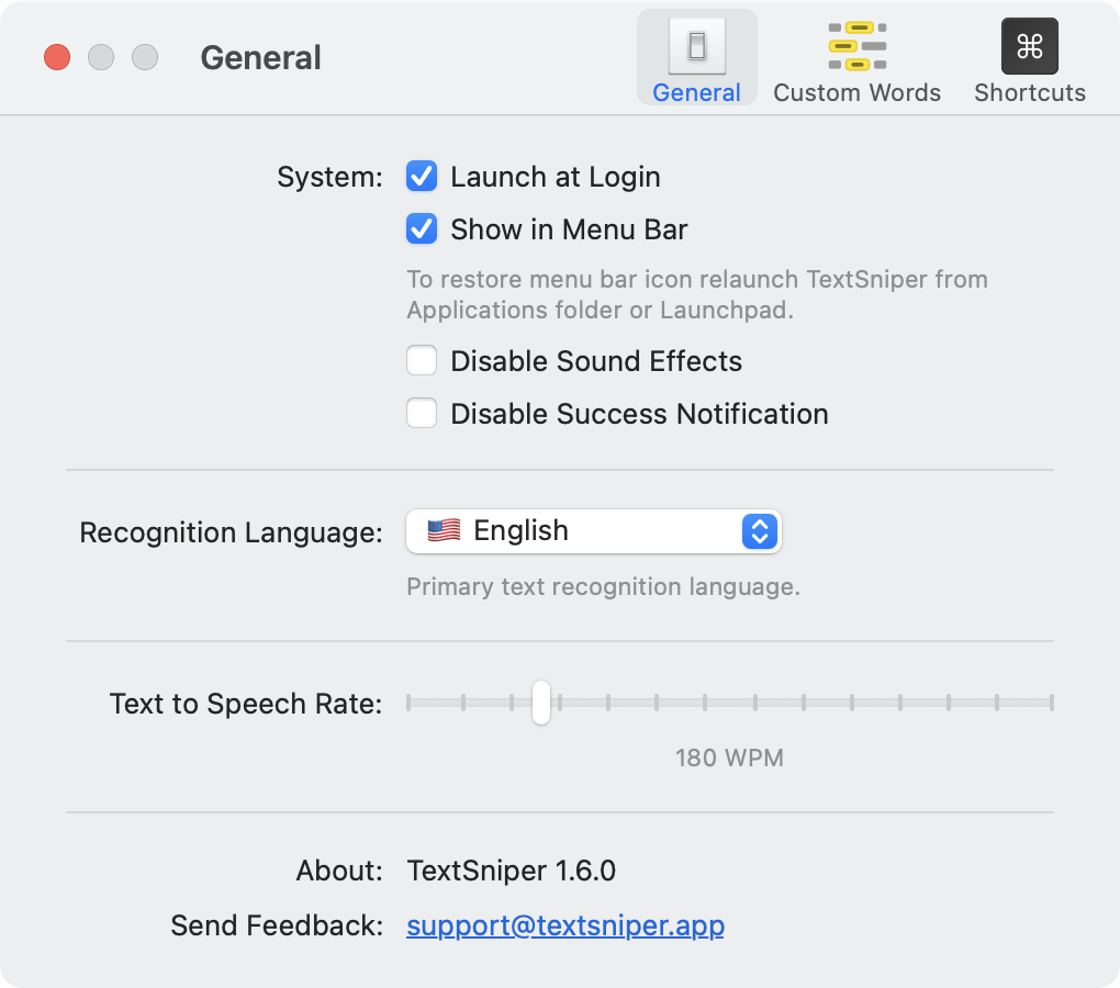 TextSniper Preferences General