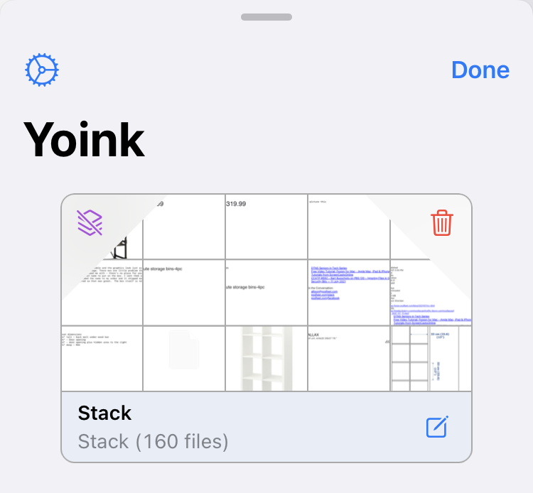 All 160 Items in One Yoink Stack