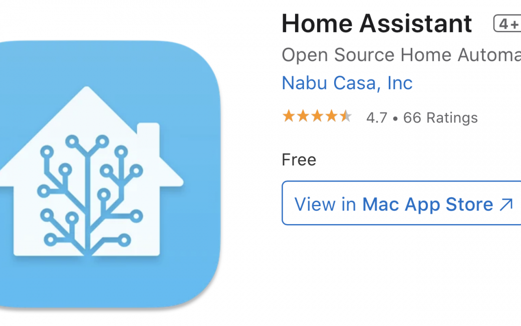 Home Assistant in Mac App Store