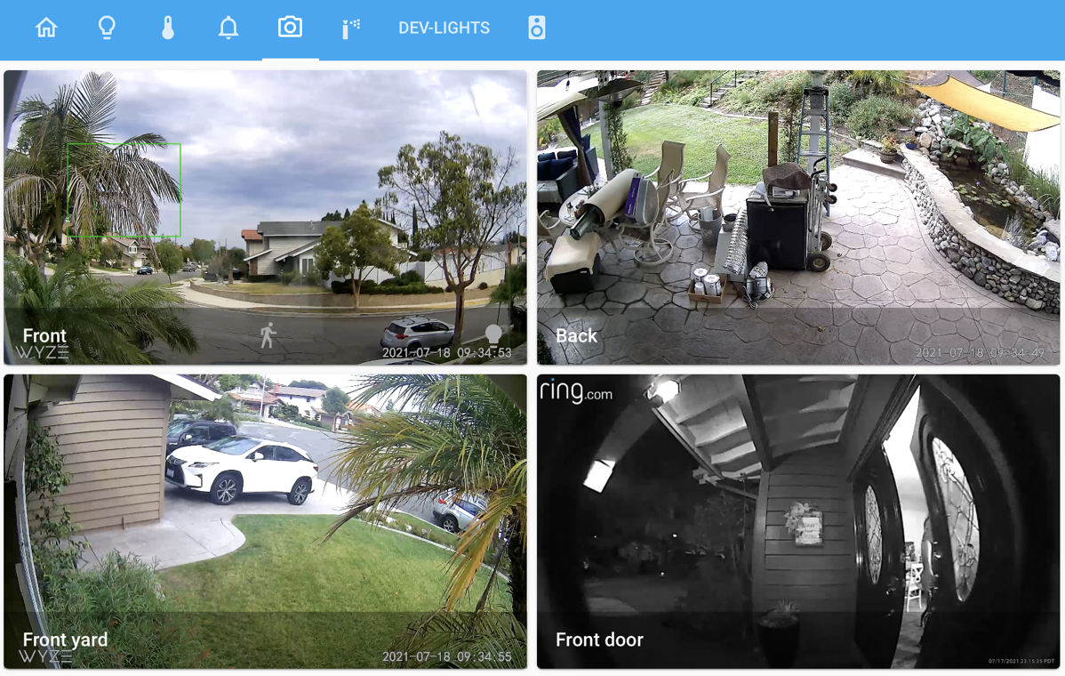 Home Assistant Showing Cameras