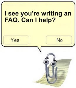 Microsoft Clippy character with message about FAQ