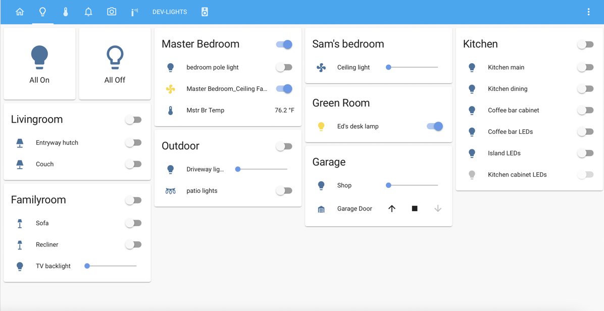 Home Assistant Showing Lights Controls
