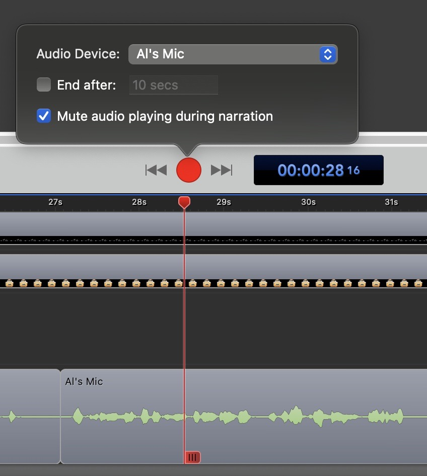 Voice Over Showing Record Button