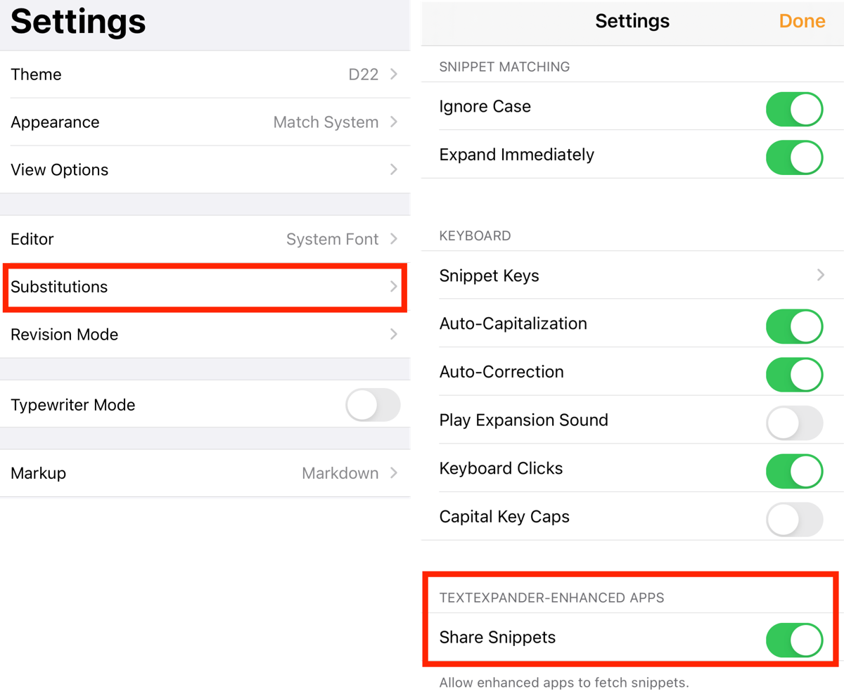 Editor Settings → Substitutions → Toggle on Share Snippets