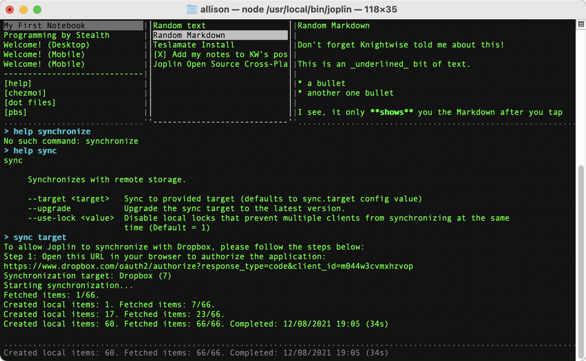 Joplin in Terminal on macOS
