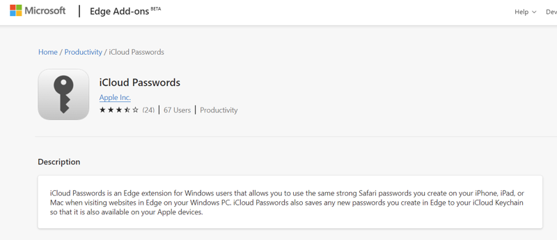 Microsoft Edge Extension for iCloud Passwords