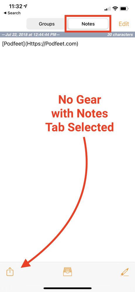 No Gear Visible with Groups Tab Selected