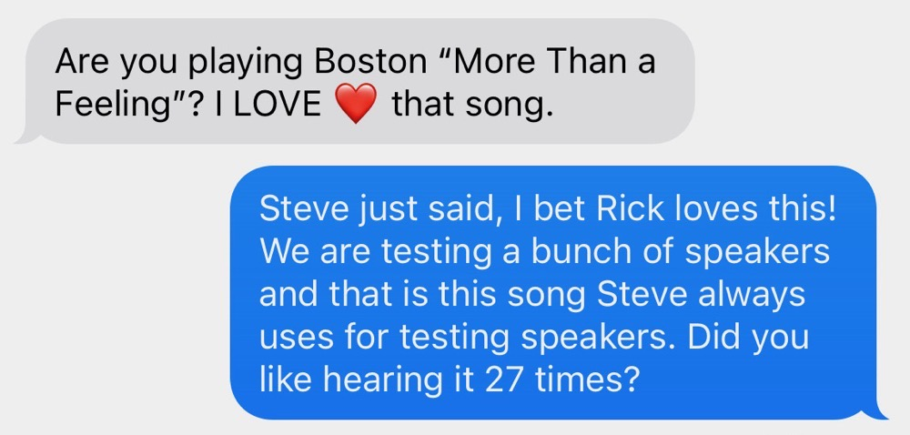 Rick's Reaction to More Than a Feeling