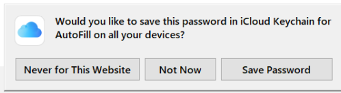 Would You Like to Save Password to iCloud Keychain?