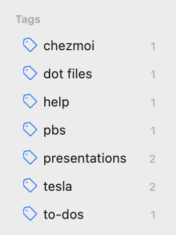 Tags on desktop app showing count