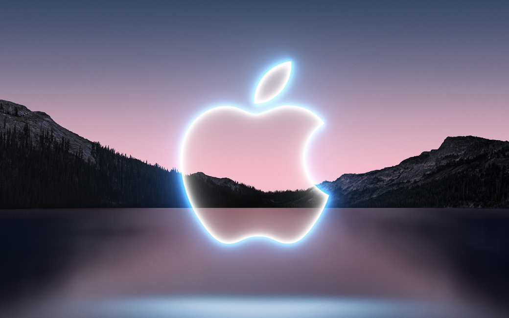 California Streaming Apple logo over lake and mountains