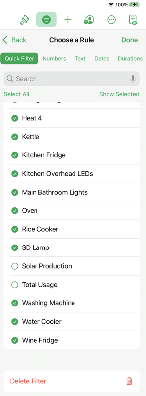 Filter to Remove Solar and Total Usage