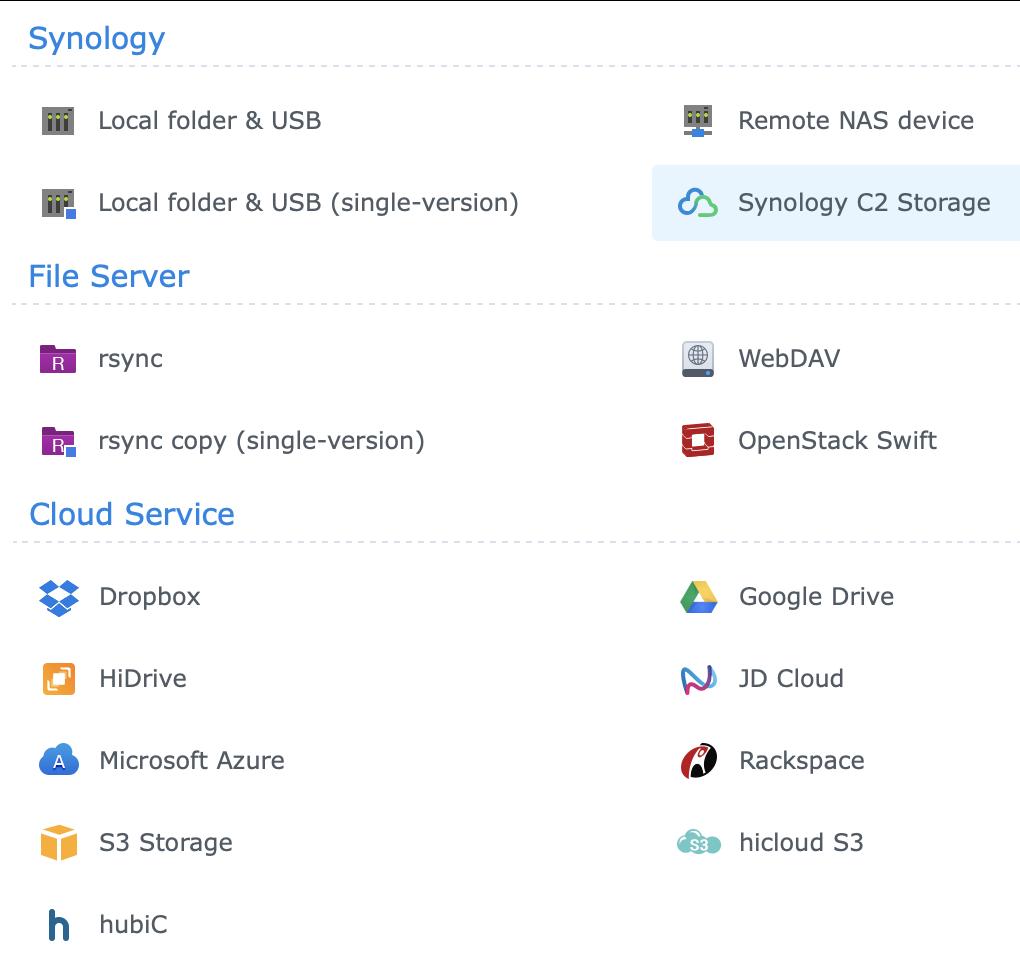 Hyper Backup Cloud Options
