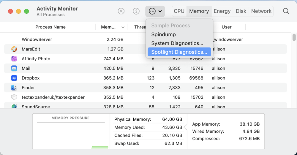 Run Spotlight Diagnostics from Activity Monitor