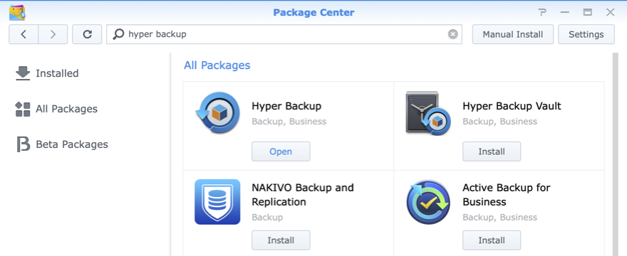 Hyper Backup in Synology Package Station