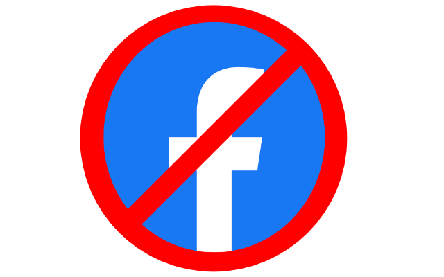 Facebook logo with a red circle and a line through it